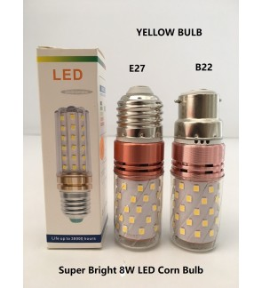 Super Bright Yellow 8W Energy Saving Led Corn Bulb E27/B22